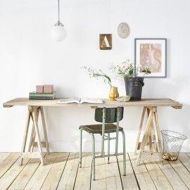 table trétaux bois grisé industrial atelier
