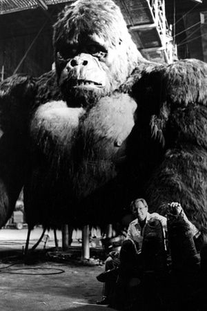 Director John Guillermin with mechanical King Kong on the set of the 1976 remake