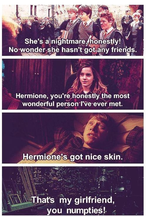 The progression of Ron's assessment of Hermione. When you compare the first and last one, it's pretty hilarious xD
