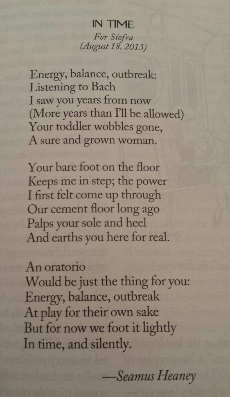 Seamus Heaney's poem to his granddaughter