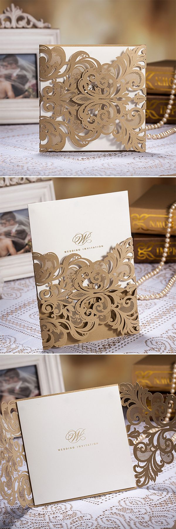 Best 25 wedding invitation supplies ideas on pinterest how to royal shade of gold laser cut cheap winter wedding invitation wlc017 monicamarmolfo Gallery