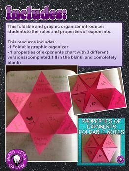 Properties of Exponents Foldable (Rules of Exponents)