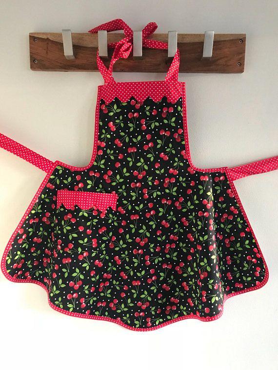 Cherry Retro Style Apron / Aprons for Women / Rockabilly Apron