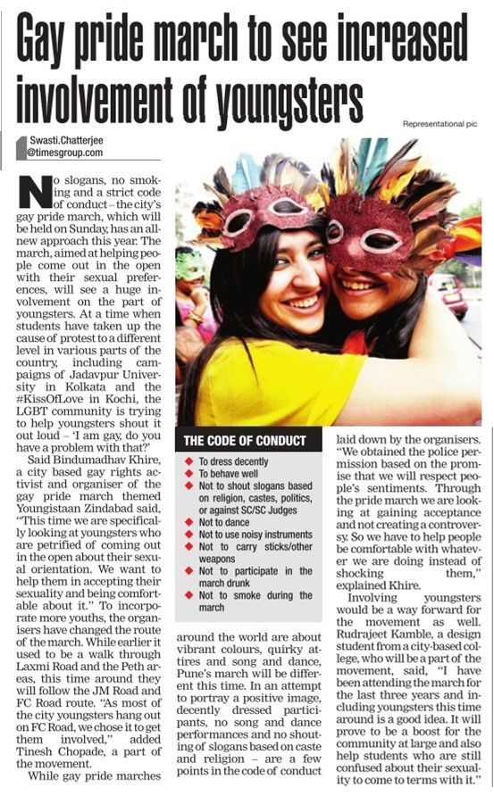#Gay #Pride march to see increased involvement of youngsters | Times Of India  #Pune #LGBT