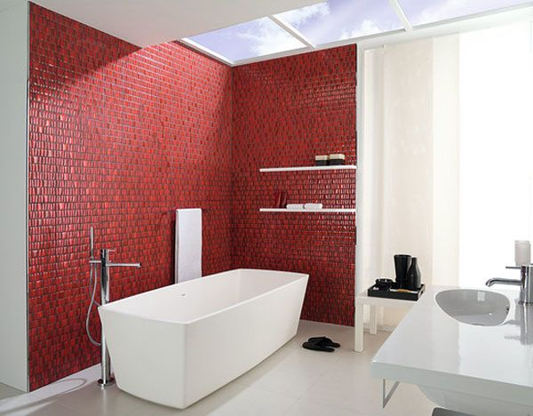 Red Porcelanosa mosaic wall tiles energize while making a bold statement.
