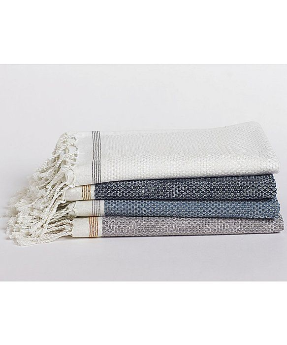 Coyuchi Mediterranean Bath Towel Indigo w/Mustard | In Turkey, where bathing has been raised to an art, khadi is the traditional choice for toweling. Lightweight and textural, the weave absorbs well, dries quickly and feels great against the skin. Our khadi towels are loomed from soft organic cotton in yarn-dyed stripes and edged in hand-knotted fringe.
