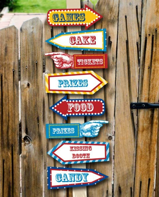 Carnival Party Signs Printable Editable Text by PopcornPrintables, $4.75