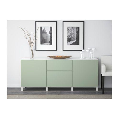 BESTÅ Opberger met lades - wit/Lappviken groen, laderail, zachtsluitend - IKEA