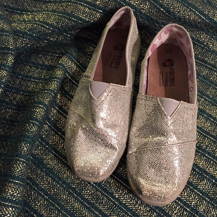 Bobs Skechers Youth 2 Silver Sparkle Slip On Shoes #Skechers #CasualShoes