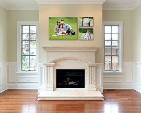 Family photos above the fireplace