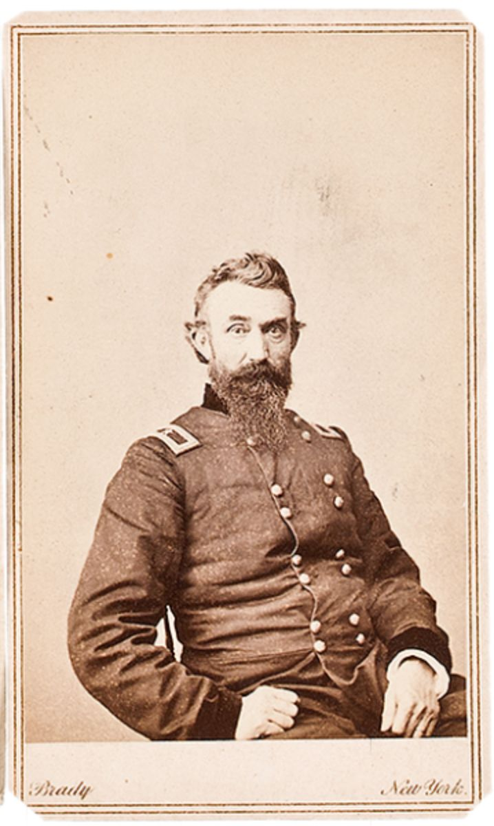 """Brady view of Bvt. Maj. Gen. Nathan Kimball, Col. 14th IN.; made brigadier for defeating """"Stonewall"""" at Kernstown, commanded a division at Antietam and led a 4th Corps division at Atlanta, Frankilin and Nashville."""