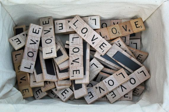 Set of 50  Scrabble Tile Love Magnet Wedding Favors by DoveyDesign, $137.50  Wedding Favors