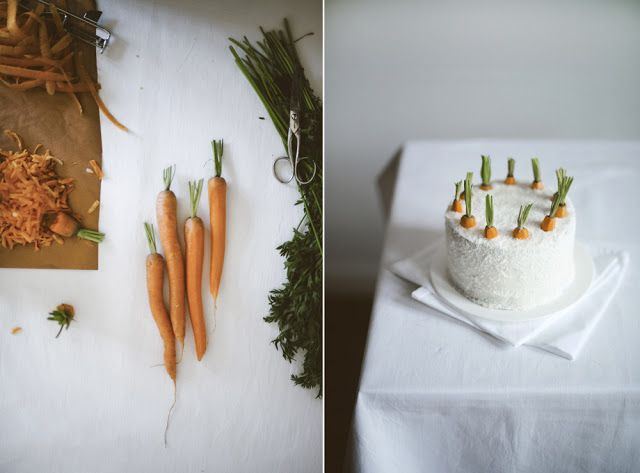 Cute idea for how to decorate a carrot cake