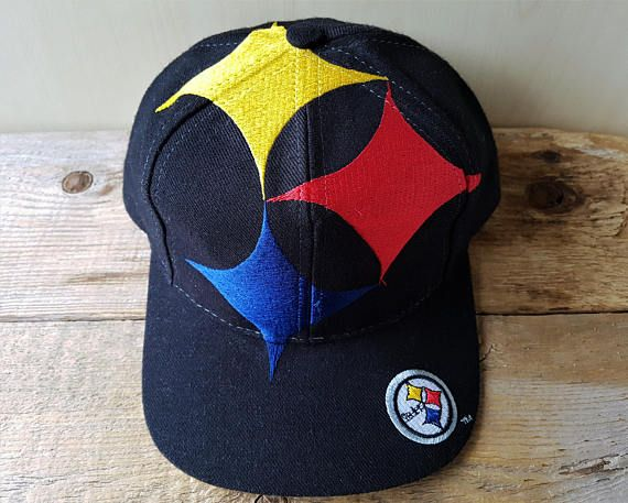 Pittsburgh STEELERS Vintage 90s BiG LOGO Snapback Hat by The