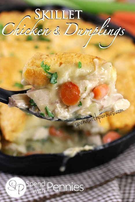 Skillet Chicken & Dumplings!  Easy and delicious, this is the perfect comfort food for a cool evening!