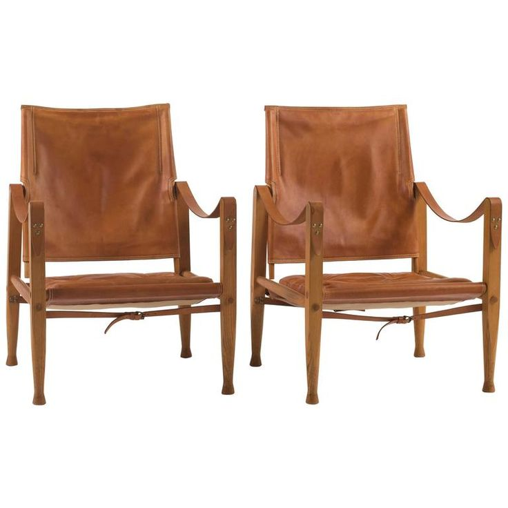 Pair of Kaare Klint Safari Chairs for Rud. Rasmussen | From a unique collection of antique and modern living room sets at https://www.1stdibs.com/furniture/seating/living-room-sets/