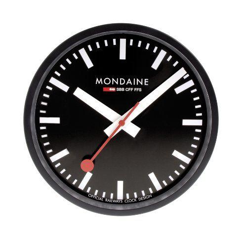clock64sbb wall clock black dial black frame