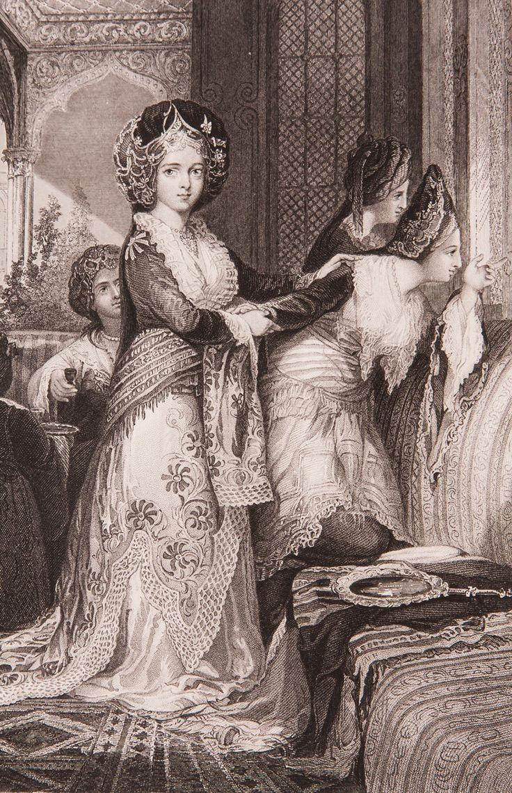 """Haremde Odalık Gravür-William Henry Bartlett tarafından çizilmiş, Miss Julia Pardoe'nin 1838 yılında Londra'da basılan """"The Beauties of the Bosphorus"""" adlı meşhur seyahatnamesinde yer almış orijinal çelik baskı gravür. Bu seyahatname Osmanlı gündelik yaşamı ve İstanbul güzelliklerini anlatmakta olup 19. yüzyıl Avrupası'nın en çok ilgi çeken kitaplarından biri olmuştur."""