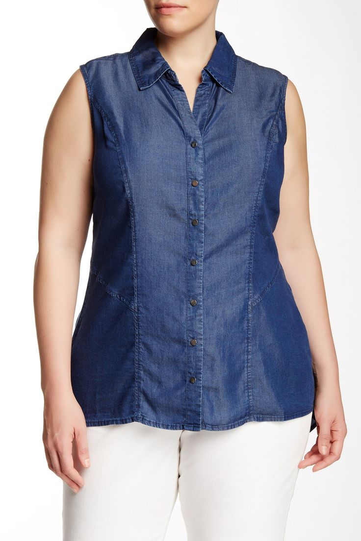 Sleeveless Chambray Blouse (Plus Size) by Modamix on @nordstrom_rack