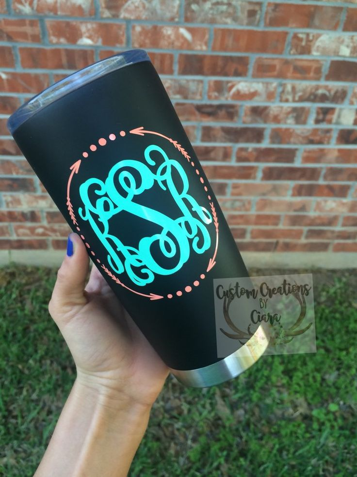 Tru Temp Tumbler 20 oz - Monogram - Matte Black - Stainless Steal - Custom - Yeti Dupe - Custom Tumbler - Any Monogram of Your Choice by CustomCreationsByCP on Etsy
