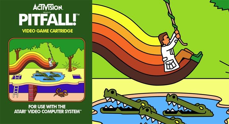 Activision Pitfall for Atari VCS, 1982, Box Art + Close-Up