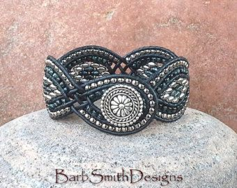 Bracelet manchette en Wrap argent noir Skinny par BarbSmithDesigns