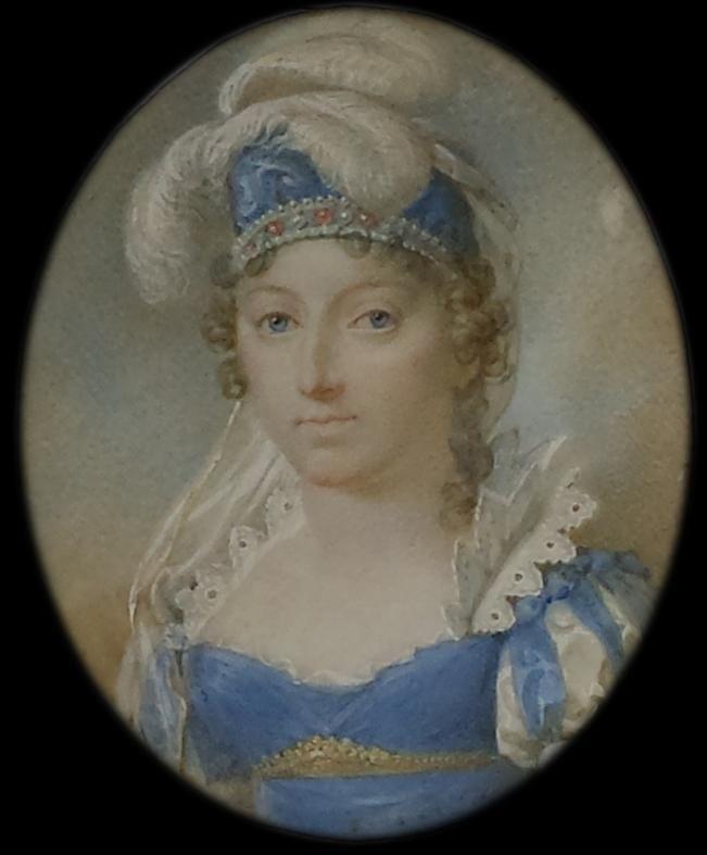 """Exceptionnel portrait en miniature de Madame Royale, duchesse d'Angoulème, fille du roi Louis XVI Hotel des Ventes d'Auvers sur Oise, 2014, succession d'une maison de Parmain.  Attribué à A.L. Larue dit """"Mansion"""". V. 1815-1817, coiffée d'un turban bleu, de plumes blanches et d'un diadème. 6,6 +5,1 cm, aquarelle et gouache sur ivoire."""