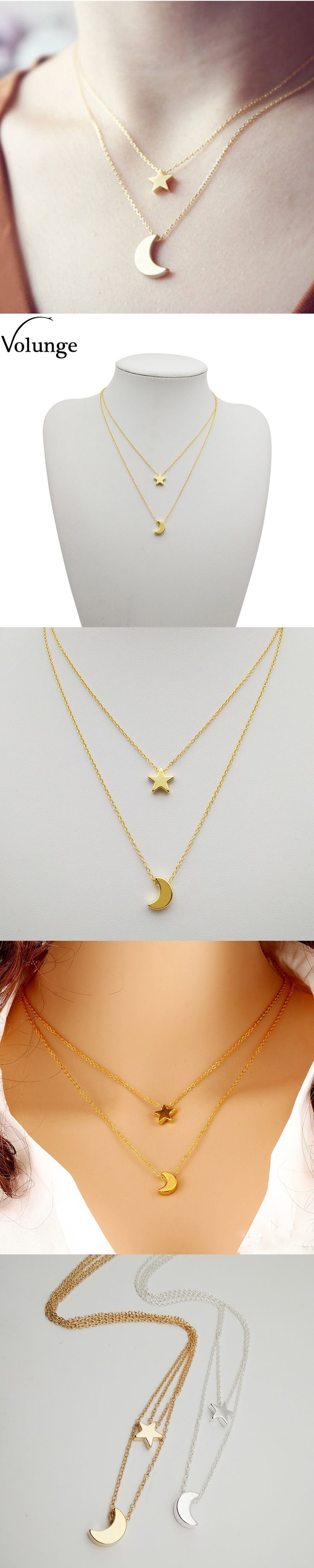 Volunge Fashion Simple Alloy Moon Star Pendant Short Necklaces Jewelry For Women Basic Design Metal Clavicle Chain Necklace