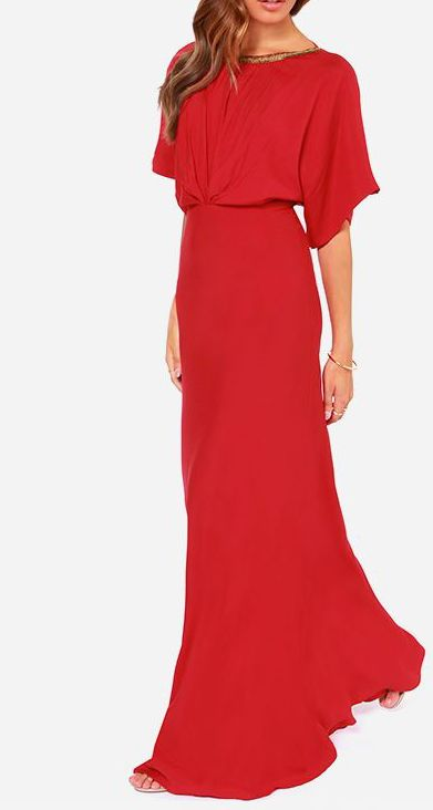 Break Free Beaded Red Maxi Dress