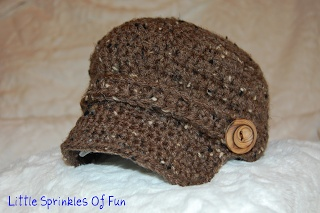 Little Sprinkles of Fun: Crocheted Newsboy Hat