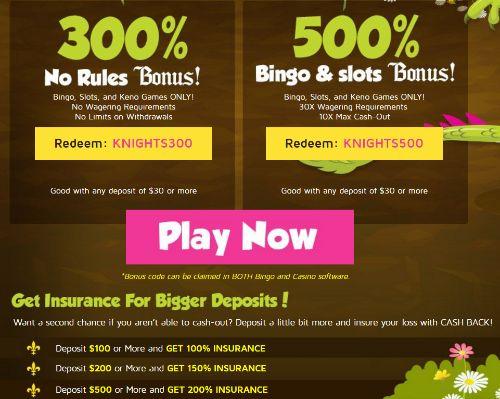 Bingo knights casino no deposit bonus three card poker gambling