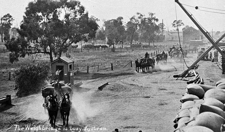 The weighbridge is busy, Kyabram, c. 1915. Photographer: Lilian Louisa Pitts. Great photo, presumably taken at the Railway station. Museum Victoria http://collections.museumvictoria.com.au/items/766612