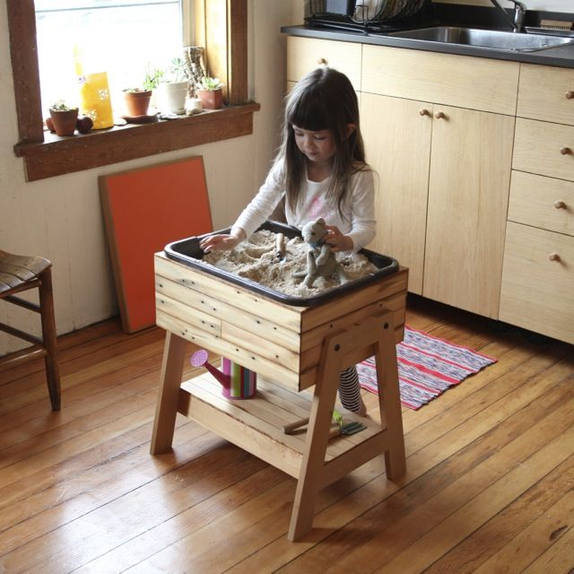 Hours of uninterrupted play kitchen sandbox indoor for Play kitchen table