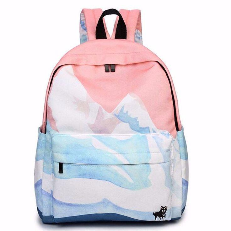 2017 rucksack mochila couple embroidered travel backpacks korean harajuku bags landscape school bags for teenager girls ZZ149
