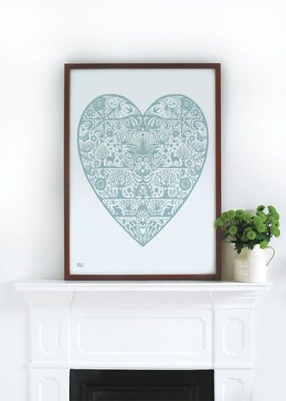 My Heart decorative screen print by boldandnoble on Etsy