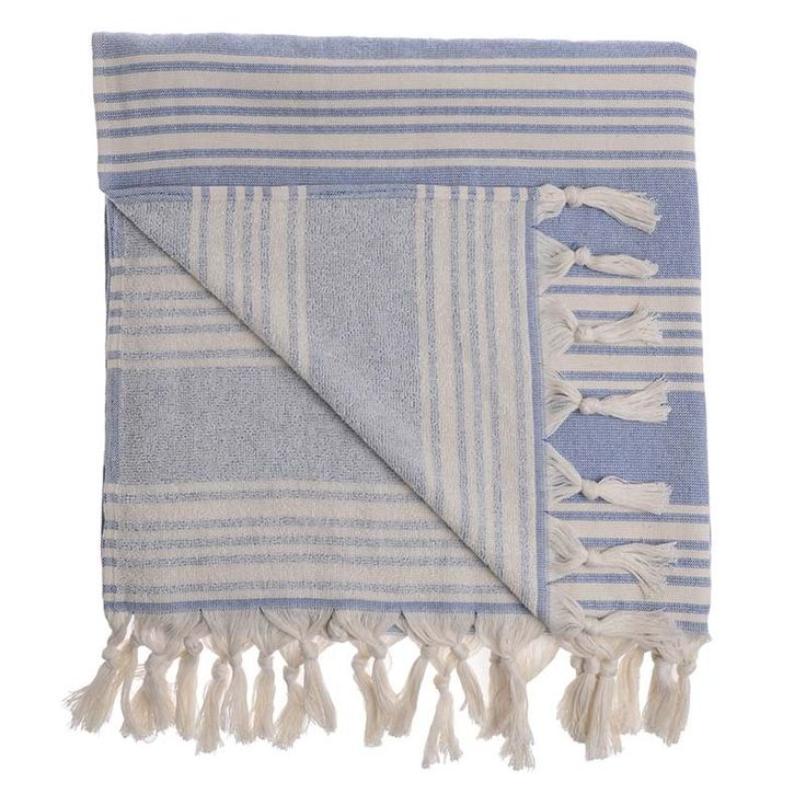 BODY TOWEL-PESTEMAL IN BLUE/IVORY COLOR - Towels