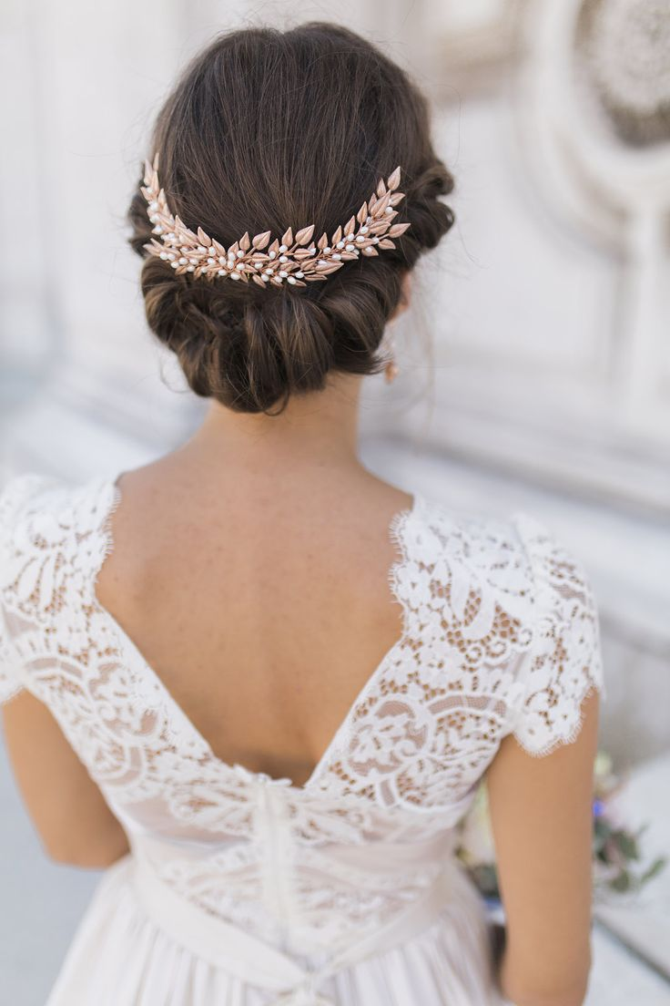 Rose gold wedding hair accessories - Midsummmer Crescent Comb In Rose Gold By Kelly Spence Bridal Accessories Dress By Katya Katya