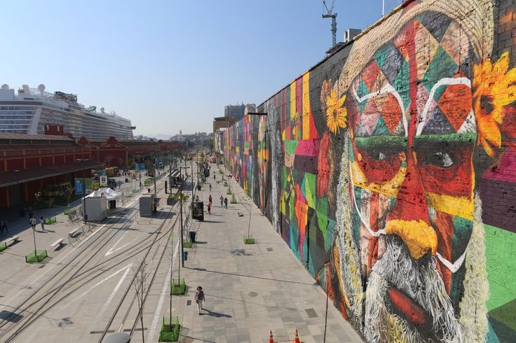 To coincide with the 2016 Rio Summer Olympics, Brazilian street artist Eduardo Kobra and a team of artists spent 45 days creating this spray-paint mural spanning an abandoned warehouse in the city's port district. Photo courtesy Guinness World Records.