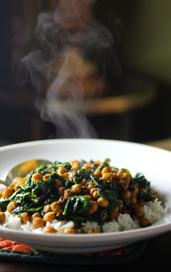 Spinach  Chickpeas in a Bengali Mustard Sauce