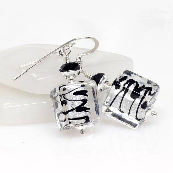 Silver Black Venetian Murano Glass Earrings Silver Murano