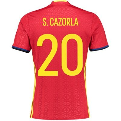 Adidas Spain Home Shirt 2016 Red with S. Cazorla 20 Spain Home Shirt 2016 - RedSupport the reigning European Champions in their defence of the coveted Henri Delaunay Trophy with the Spain Home Shirt 2016 - Red.This official Spain home jersey will be  http://www.MightGet.com/february-2017-2/adidas-spain-home-shirt-2016-red-with-s-cazorla-20.asp