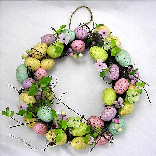 Easter Egg Wreath Floral Blossom Twig Table Wall Door Spring Decoration 36 cm #SmartDealsMarket #Easter