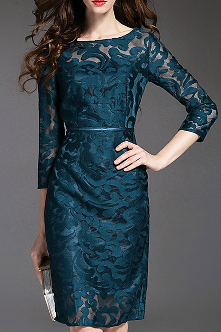 Elegant Teal Blue Lace See-Through Bodycon Dress #Elegant #Teal_Blue #Lace #Cocktail_Dresses #Party_Dresses