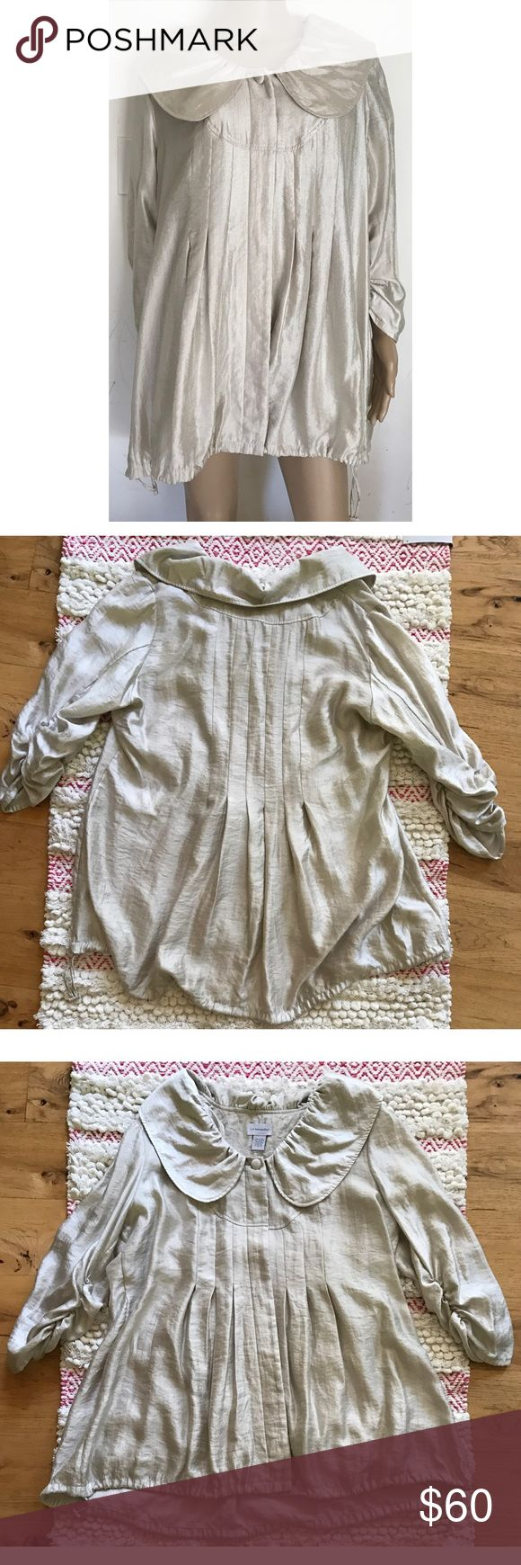 "Soft Surroundings Peter Pan Collar Utility Jacket In amazing condition and super gorgeous in person is this Soft Surroundings jacket in women's size 2X. No flaws. Not lined.  Shimmering metallic silver like color with large Peter Pan collar, hidden buttons, scrunch sleeves, and adjustable drawstrings on the bottom to tighten jacket up. 52% rayon/ 48% nylon.   Measure about 30"" length, 24"" pit to pit, 20"" sleeves, 18"" shoulder to shoulder. ❌No trades or modeling. Always open to reasonable…"