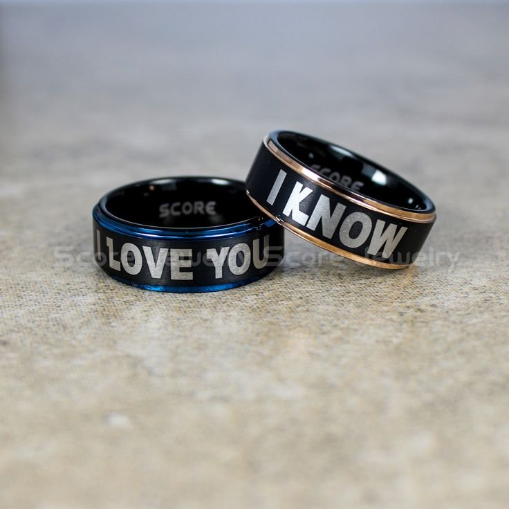 FREE SHIPPING FREE Custom Engraving 2 Piece Couple Set Tungsten Bands with Step Edge I Love You I Know Rings - 8mm Tungsten Wedding Rings