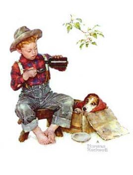 N Rockwell: sick beagle, boy pouring medicine into a spoon