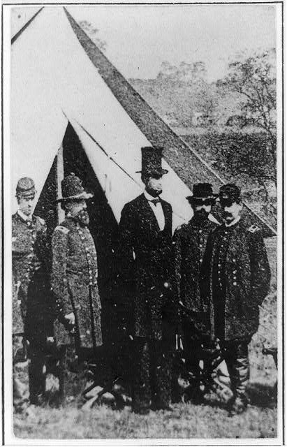 President Abraham Lincoln posed with Union officers and soldiers during his visit to Antietam, Maryland, photographed by Alexander Gardner, on October 3 1862