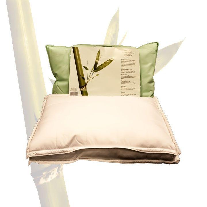 Oreiller BOX en coton et bambou avec garnissage en microfibre