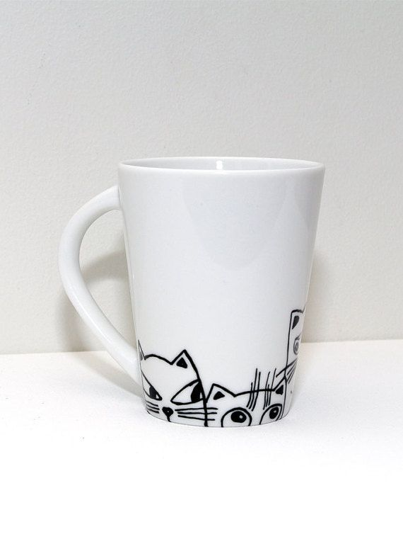 Cat cups - Cat mug - Funny Cats and Coffee Cup Hand painted mug - Cat lover gift…