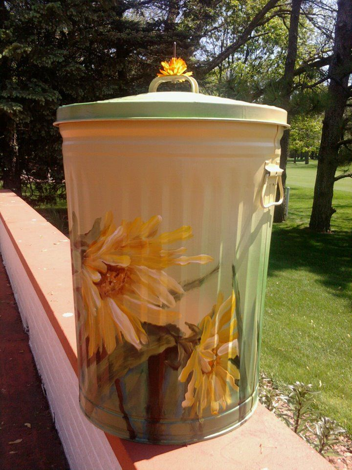 Hand painted with metal acrylic paints 30 gallon trash can.